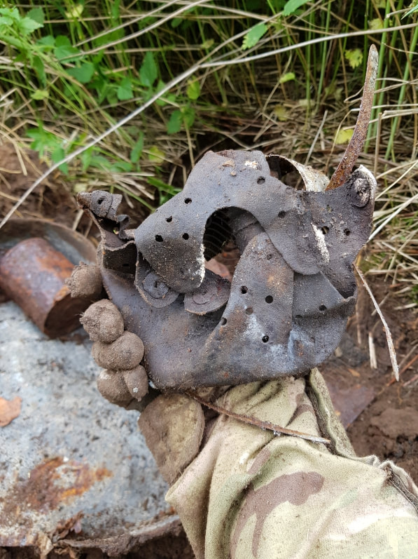 hobbyhistorica ww2 relic hunting battlefield recovery metal detecting histroy hunting rust hunting relic helmet liner